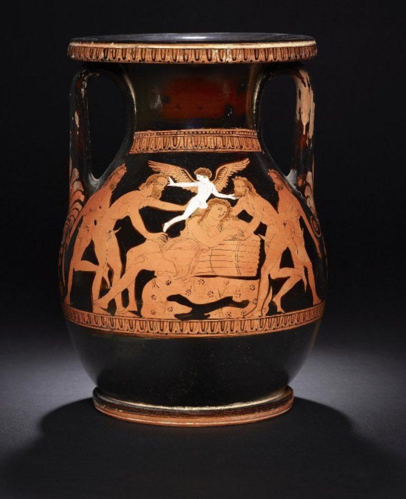 Pelike nel British Museum in cui viene raffigurata Arianne dormiente attorniata da quattro satiri e da un Eros alato